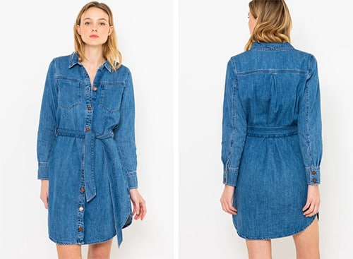 Robe chemise en jean de Camaïeu