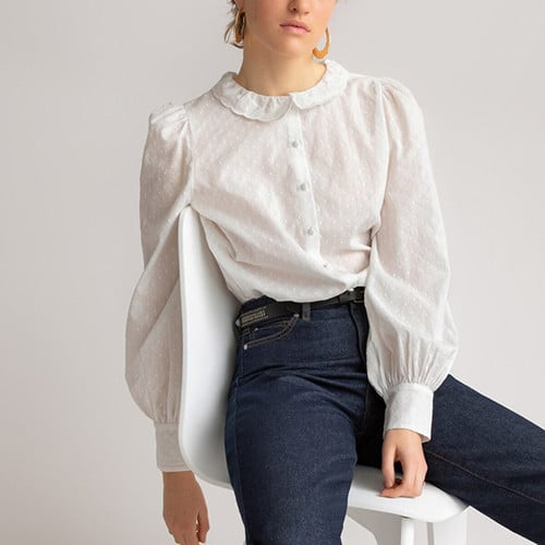 Chemise col Claudine, manches longues bouffantes