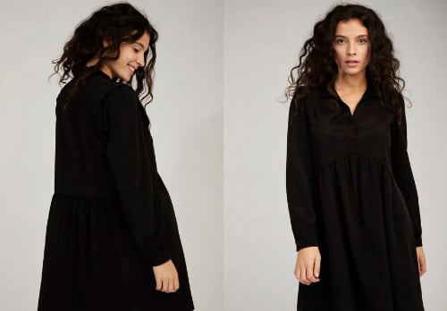 Robe col chemisier, ample, manches longues