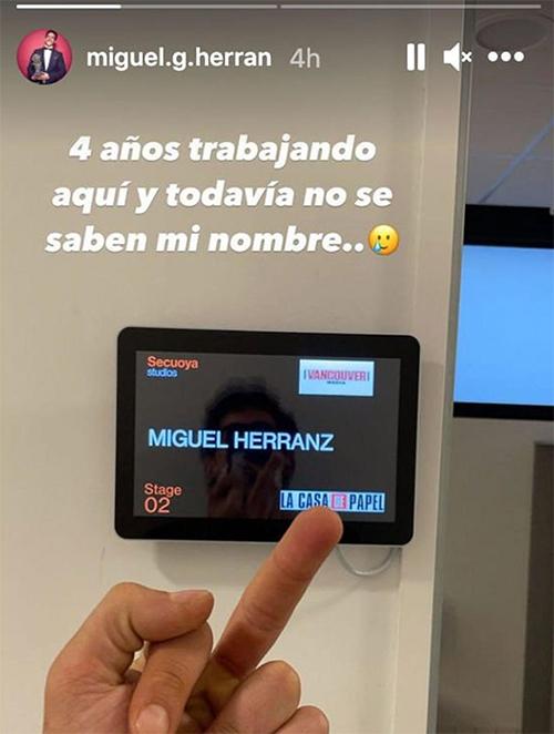 La Story Instagram de Miguel Herran de La Casa de Papel