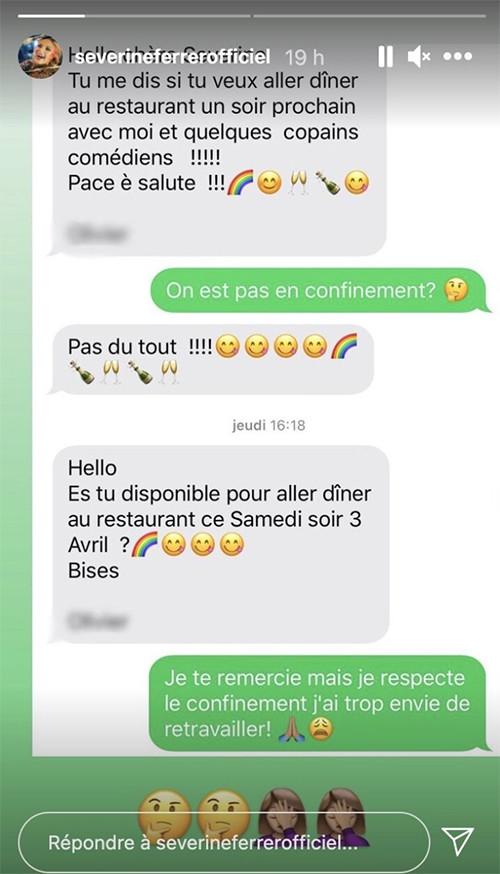 Séverine Ferrer : Son interlocuteur lui proposer d'aller dîner au restaurant.